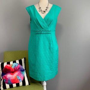 Taylor Green Geometric Bead Waist Sheath Dress